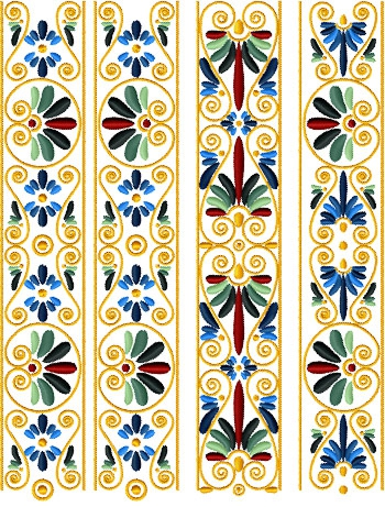 Golden Border Set of 13 Machine Embroidery Designs