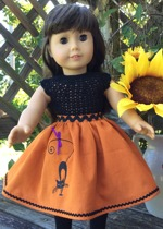 Skirt with black cat embroidery for 18-inch dolls