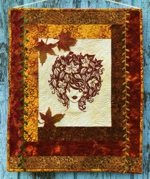 Autumn girl art quilt