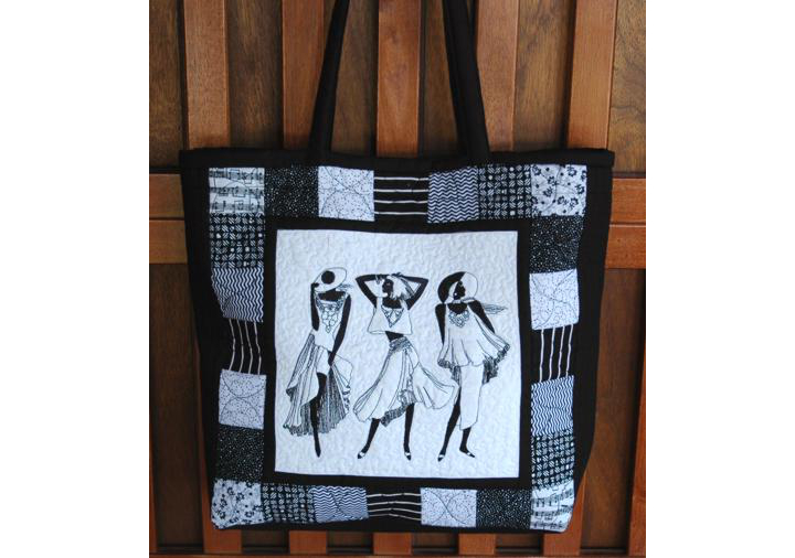 Black-and-White Quilted Tote Bag with One-Color Embroidery image 9