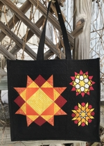 Geometric Stars Quilted Tote Bag with Embroidery