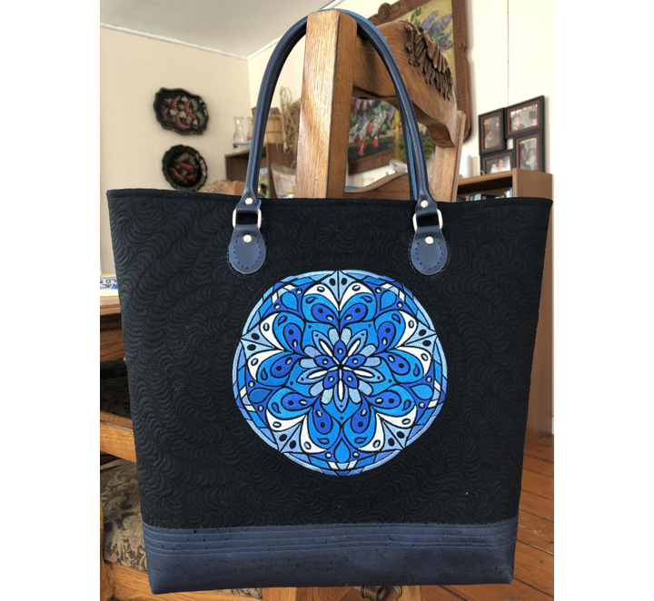 Finished bag with Blue Mandala Embroidery