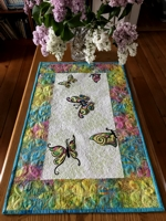 Quilted Table Runner with Butterfly Embroidery