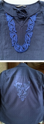 2 navy blue shirts with Celtic embroidery