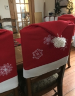 Chair Back Covers with snowflake embroidery.