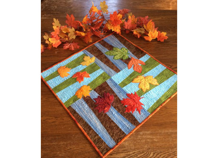 Dancing Leaves Quilted Table Topper image 1