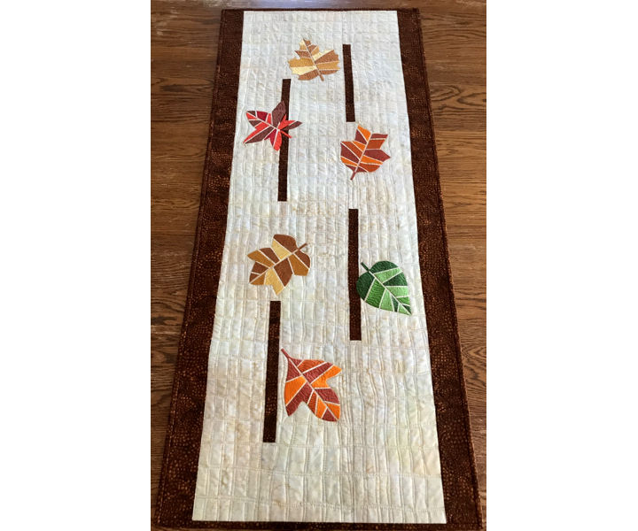 Geometric Leaves Quilted Table Runner image 1