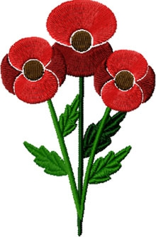 3 red poppy flowers embroidery design