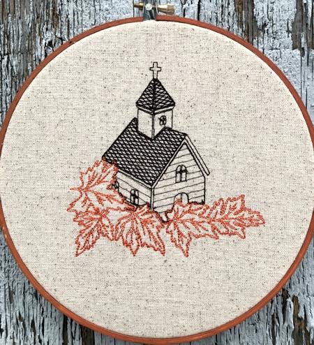 Church in Fall machine embroidery designs