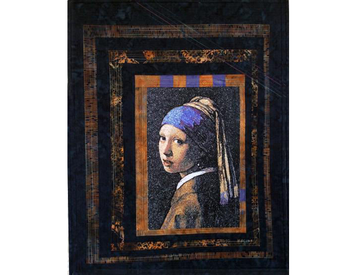"""Girl with a Pearl Earring"" in a Quilted Frame image 1"