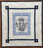 Wall quilt with ancient Greece vase embroidery