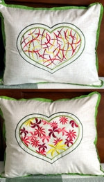 Cushion Covers with Heart Embroidery