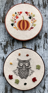 Autumn-themed embroidery in the hoop