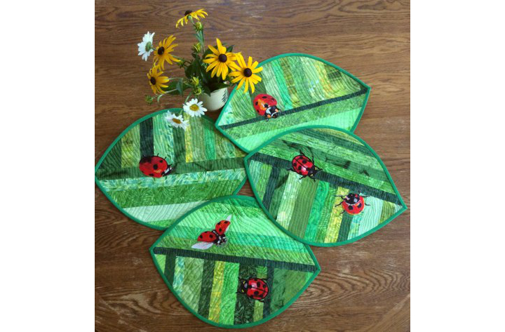 Quilted Placemats with Lady Bug embroidery image 11