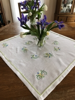 Spring-Themed Linen Table Topper with embroidery