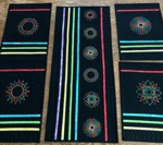 Modern Style quilted table set - table runner and 4 placemats with embroidery.