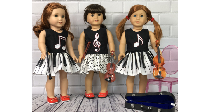 Finished 3 dresses with embroidery on bodice modeling by American Girl dolls