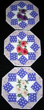 3 placemats with petunia embroidery