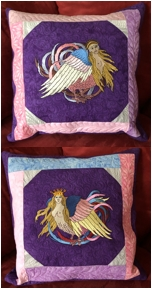Fantasy-Themed Quilted Cushions with embroidery