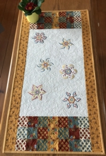 Rustic style quilted tablerunner with embroidery