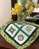 Spring Doily with Shamrock Embroidery