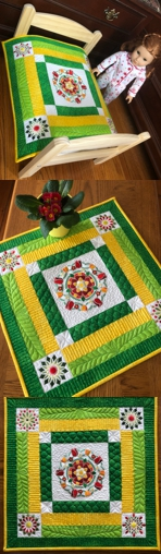 Small quilt shown as a doll quilt or table topper.