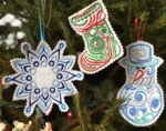 Fely Christmas Tree ornaments with machine embroidery