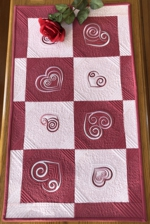 Valentine Hearts Quilted Table runner