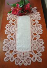 Table Linen With Battenberg Butterfly Border Lace