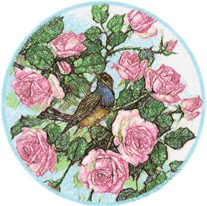 Bird in a Rosebush