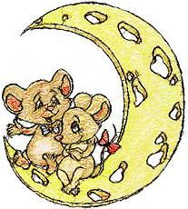 2 mice lovers sitting on a moon.