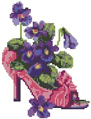 Slipper with Violets