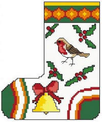 Christmas Stocking with Bird