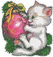 Kitty with Christmas Ball