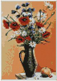 Poppies and Daisies in a Vase