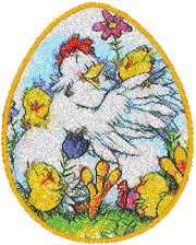 Easter Egg with Chickens Machine Embroidery Design