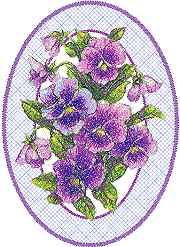 Pansies in Oval Frame