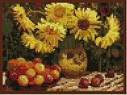 Still-Life with Apples and Sunflowers