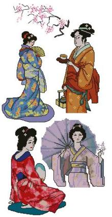 Geishas and Sakura Set