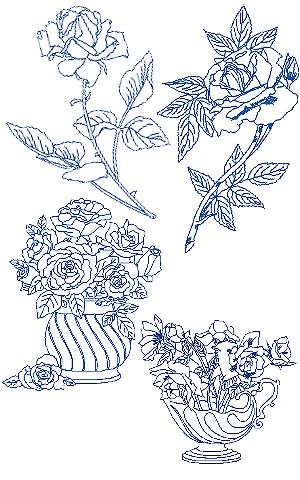 Rose Bluework Set II