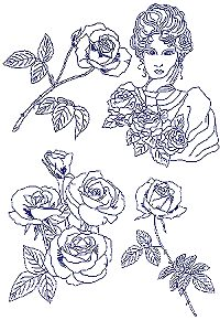 Lady with Roses Bluework Set