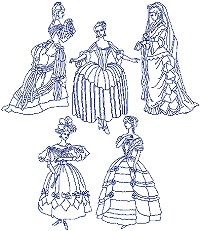 Ladies in Ball Dress Bluework Set
