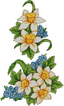 Daffodil designs in the cross-stitch technique. Designs for machine embroidery.