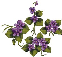 Violet Designs in the cross-stitch technique for machine embroidery.