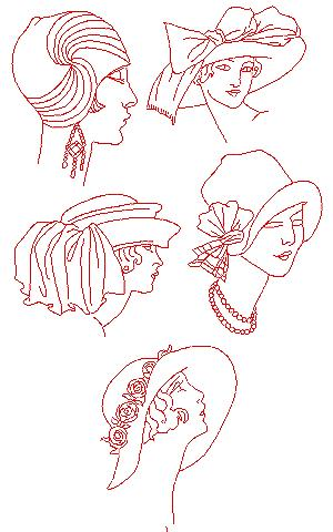 Fancy Hat Redwork Set