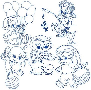 Advanced Embroidery Designs Baby Animal Redwork Set Iii