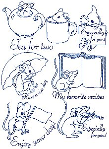 Merry Mice Redwork Set