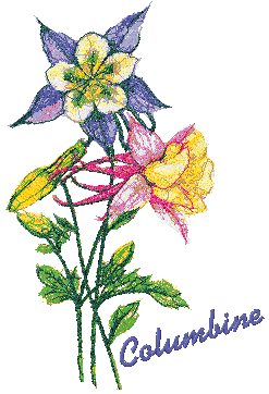 Advanced Embroidery Designs - Garden Flower Series: Columbine.