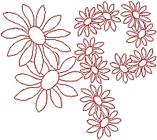 Daisy Redwork Set