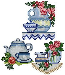 Advanced embroidery designs teacup set for Cross stitch kitchen designs